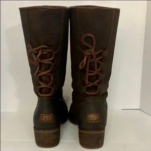 Authentic UGG brown leather boots Sz 7